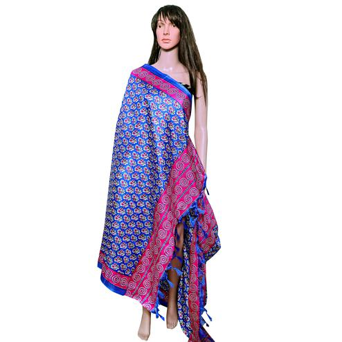 Captivating Blue-Pink Colored Festive Wear Printed Khadi Silk Dupatta