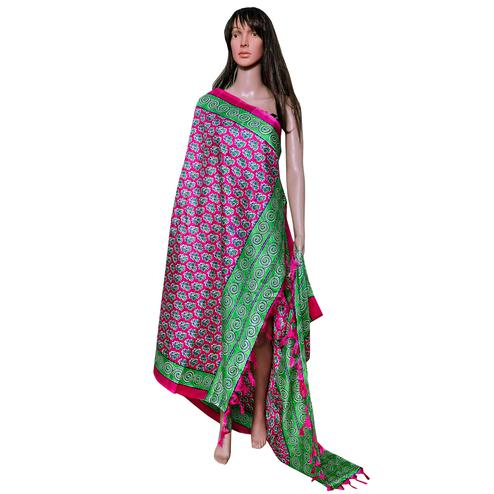 Innovative Pink-Green Colored Festive Wear Printed Khadi Silk Dupatta