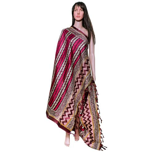 Fantastic Pink Colored Festive Wear Printed Khadi Silk Dupatta
