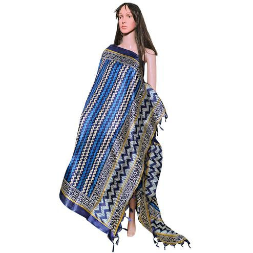 Gorgeous Blue Colored Festive Wear Printed Khadi Silk Dupatta