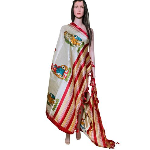 Blissful Beige-Red Colored Festive Wear Printed Khadi Silk Dupatta