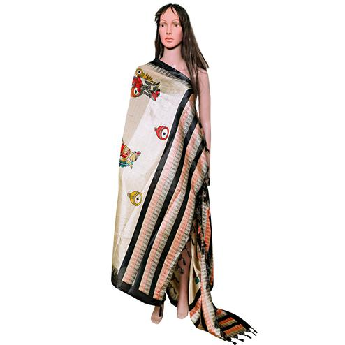 Imposing Beige-Black Colored Festive Wear Printed Khadi Silk Dupatta