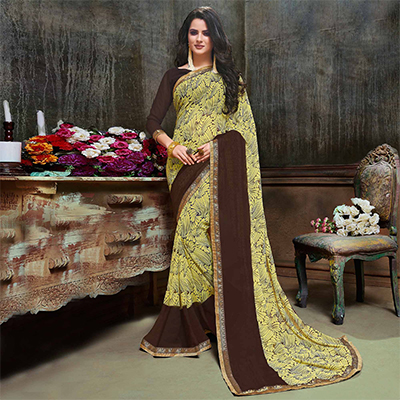 Eye Catching Yellow - Brown Georgette Printed Saree