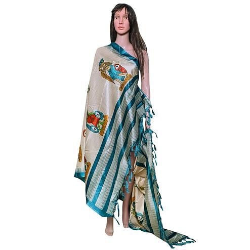 Lovely Beige-Rama Blue Colored Festive Wear Printed Khadi Silk Dupatta