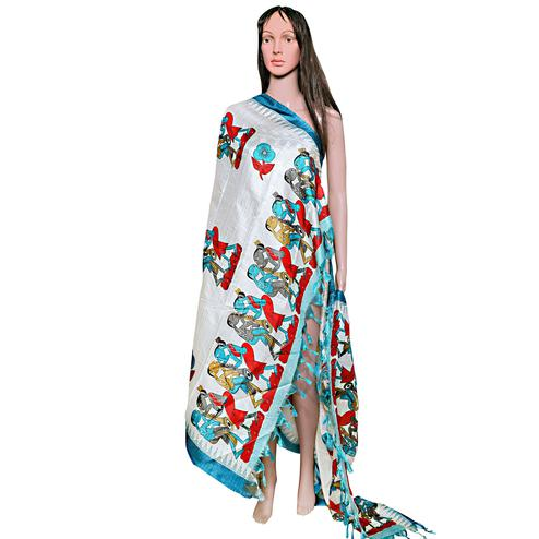Majesty White-Blue Colored Festive Wear Printed Khadi Silk Dupatta