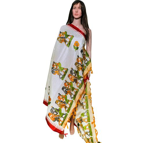 Impressive White-Red Colored Festive Wear Printed Khadi Silk Dupatta