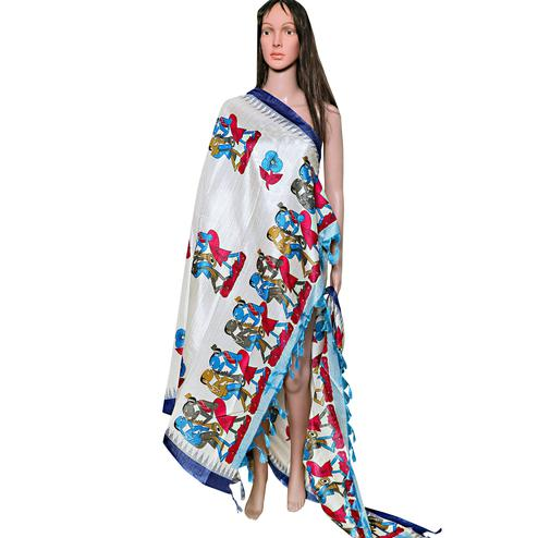 Mesmerising White-Navy Blue Colored Festive Wear Printed Khadi Silk Dupatta