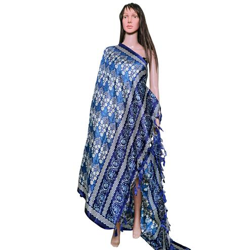 Ethnic Blue Colored Festive Wear Printed Khadi Silk Dupatta