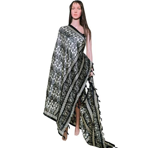 Ravishing Black Colored Festive Wear Printed Khadi Silk Dupatta