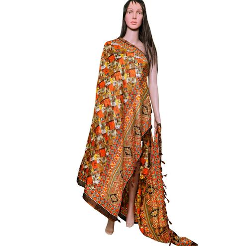 Surpassing Orange Colored Festive Wear Printed Khadi Silk Dupatta