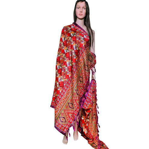 Intricate Red Colored Festive Wear Printed Khadi Silk Dupatta