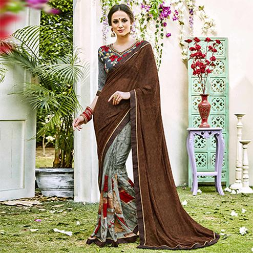 Brown-Grey Designer Partywear Georgette Saree