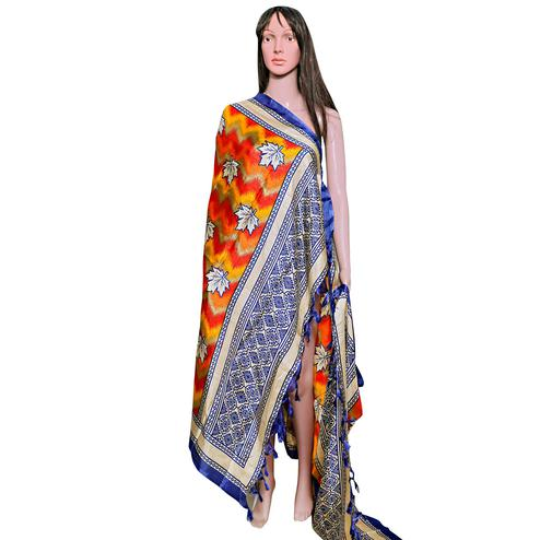 Desirable Orange-Blue Colored Festive Wear Printed Khadi Silk Dupatta