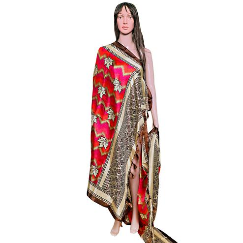 Exotic Red-Brown Colored Festive Wear Printed Khadi Silk Dupatta