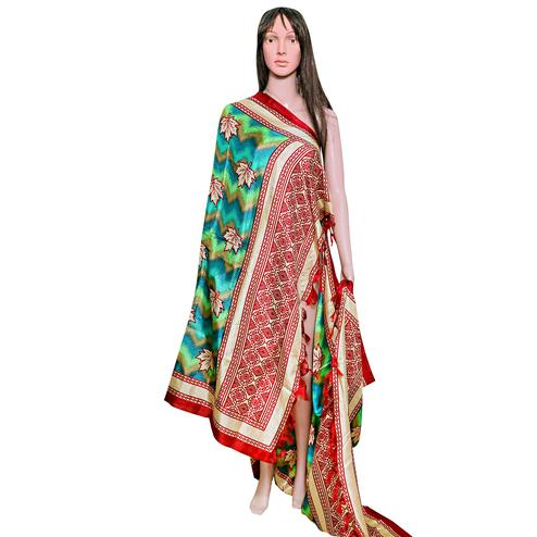 Sophisticated Green-Red Colored Festive Wear Printed Khadi Silk Dupatta