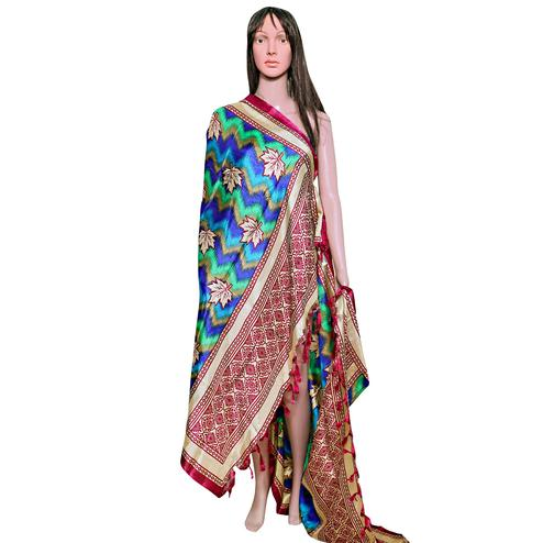 Trendy Blue-Pink Colored Festive Wear Printed Khadi Silk Dupatta