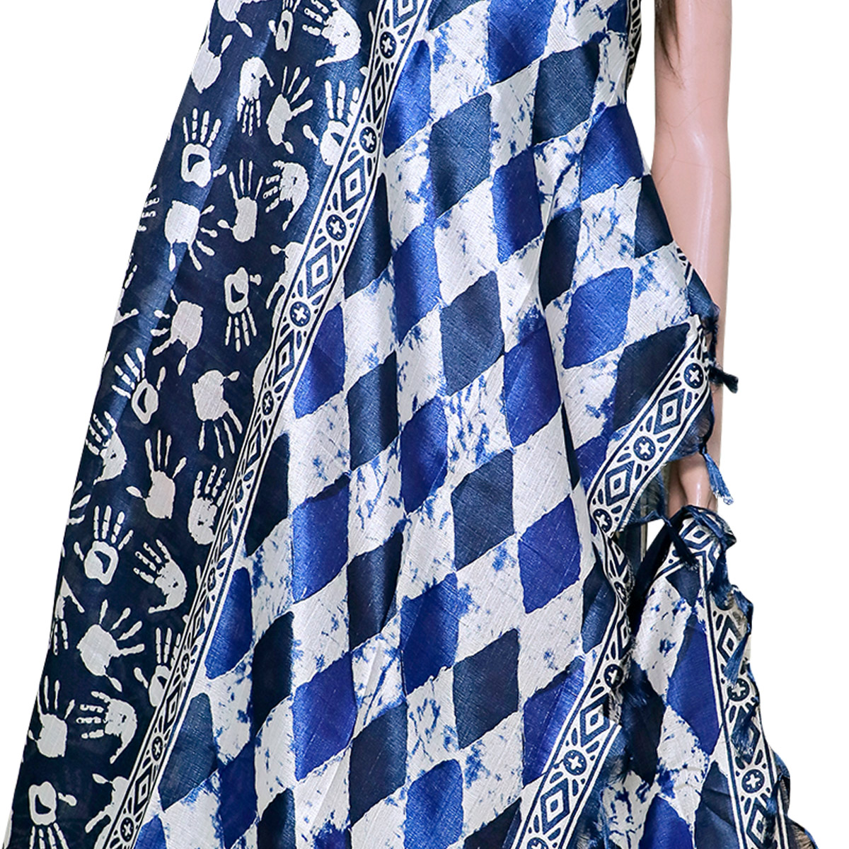 Radiant Navy Blue Colored Festive Wear Printed Khadi Silk Dupatta