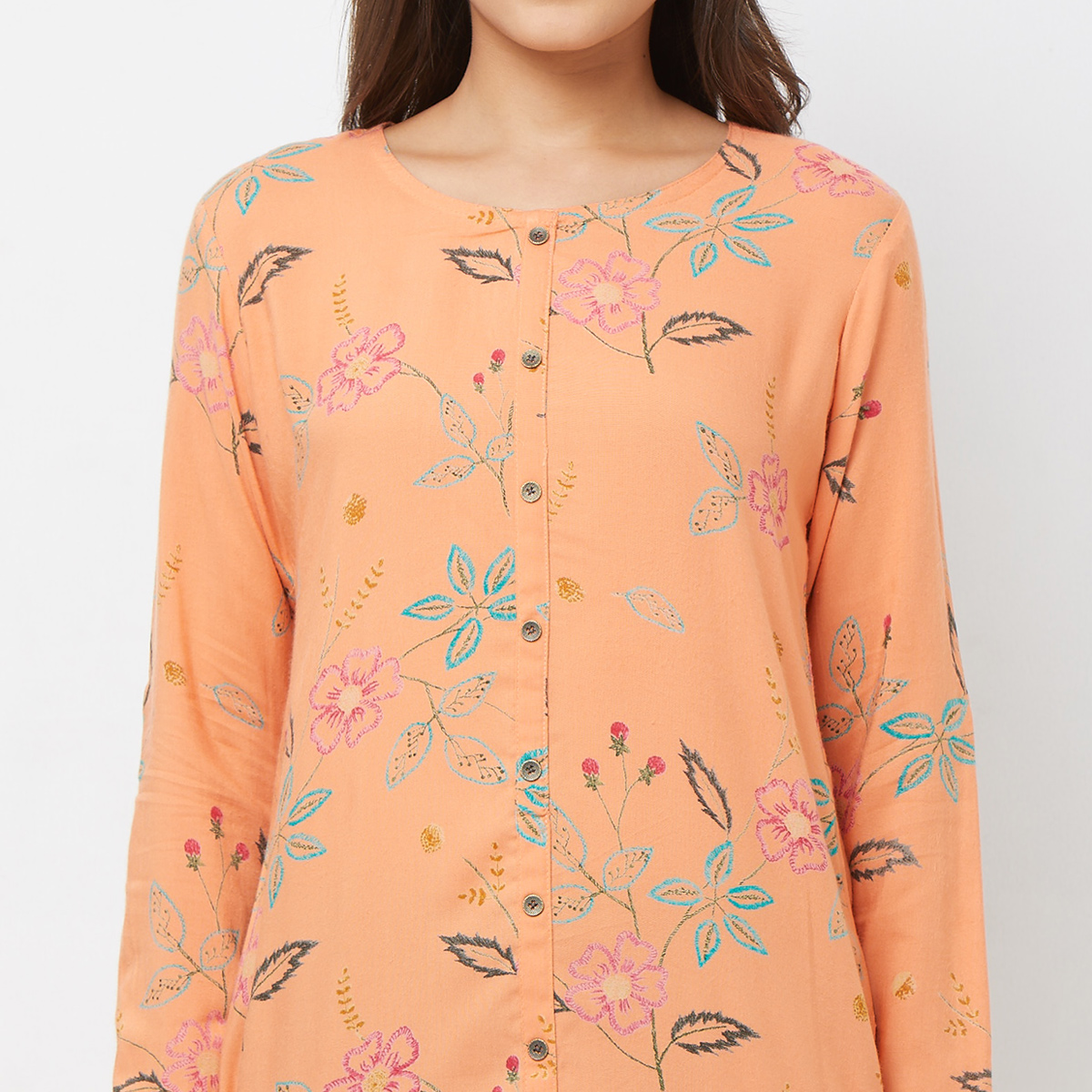 Capricious Peach Colored Casual Printed Rayon Kurti
