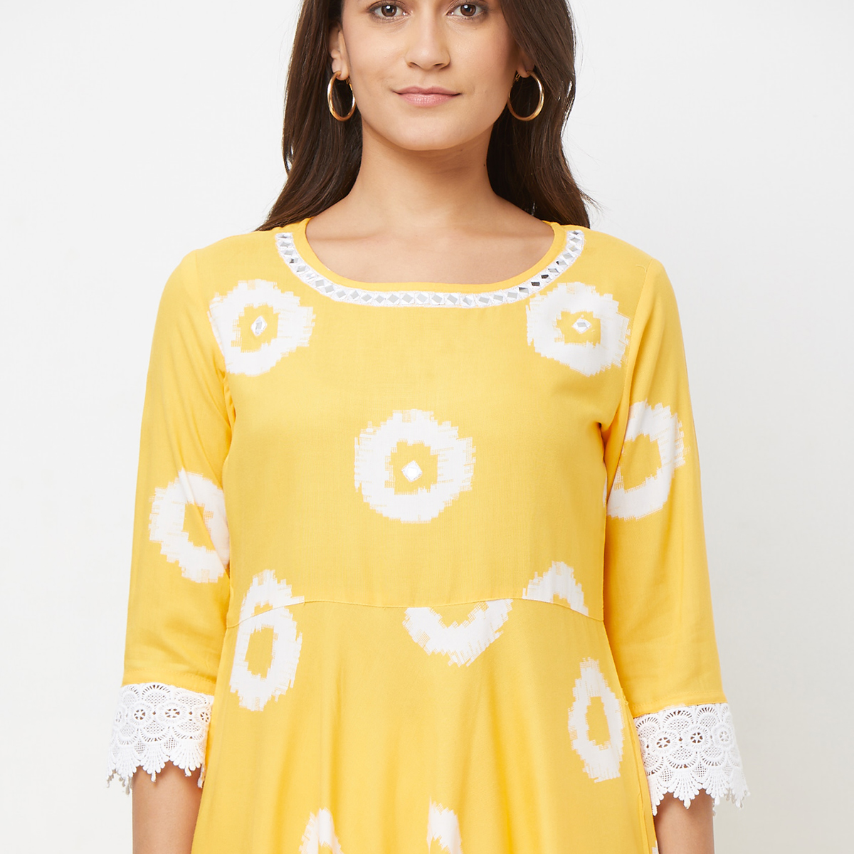 Groovy Yellow Colored Casual Printed Rayon Kurti & Dhoti Set