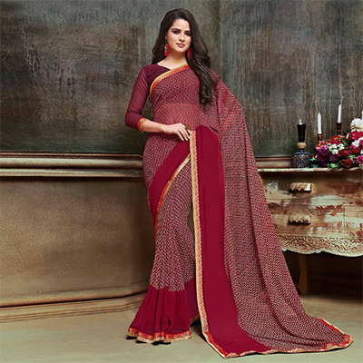 Gorgeous Maroon Georgette Printed Saree