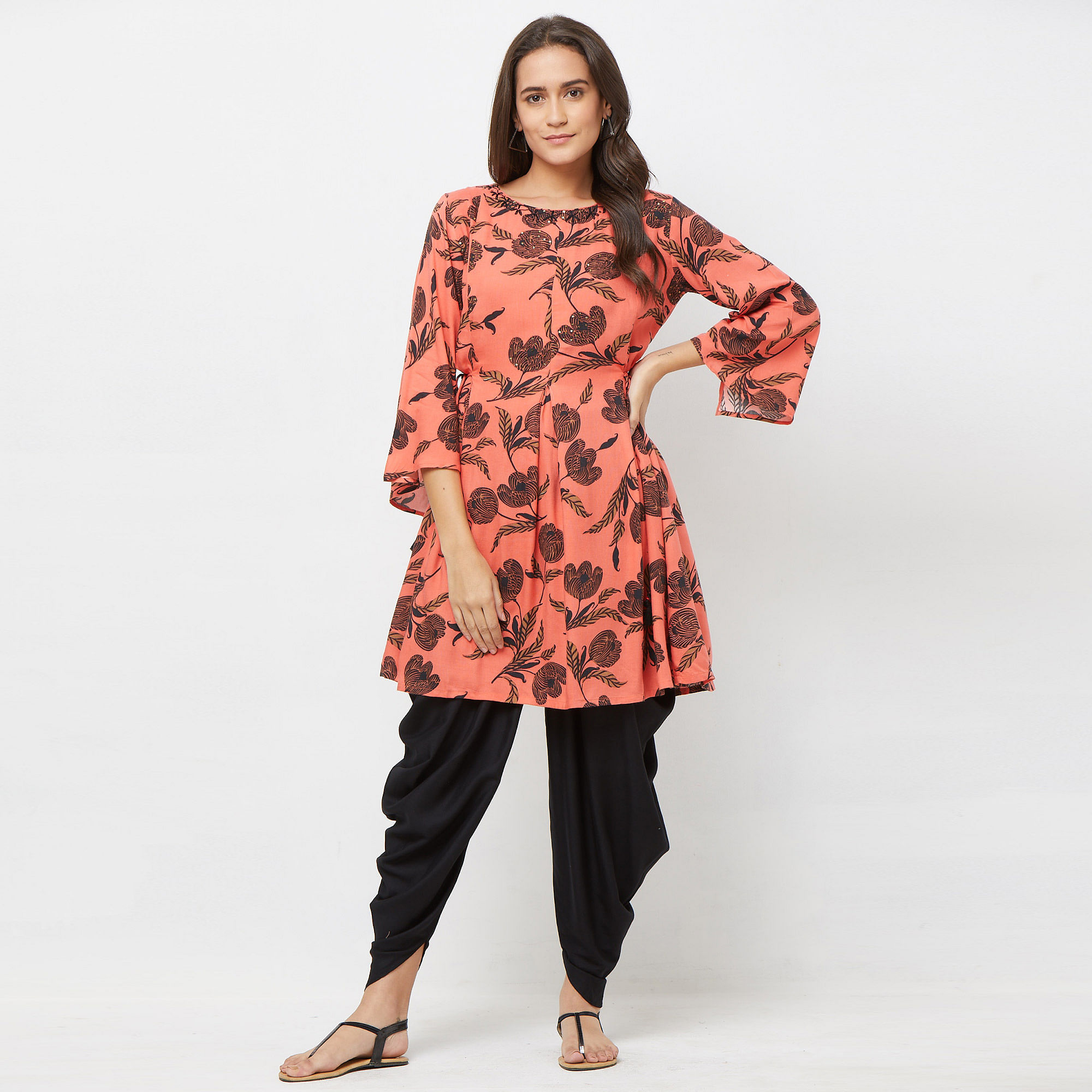 Prominent Coral Red Colored Casual Printed Rayon Kurti & Dhoti Set