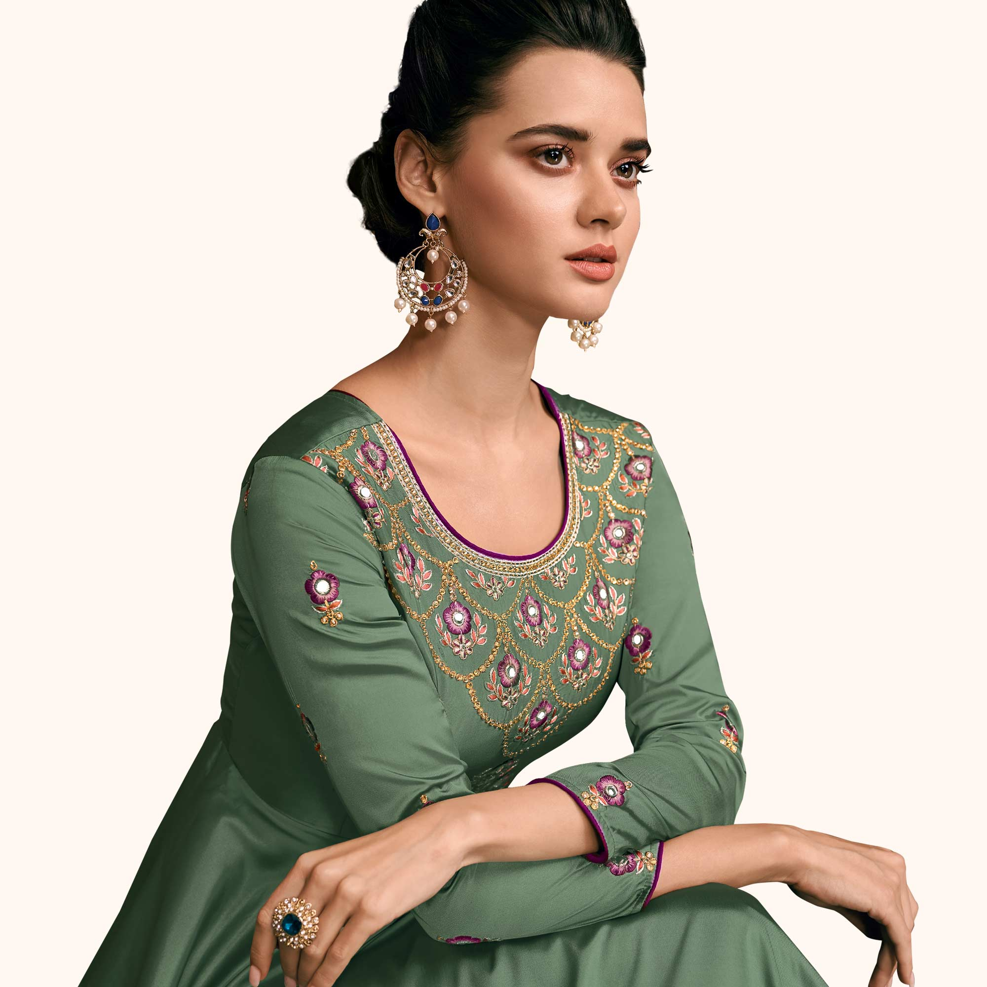 Energetic Green Colored Partywear Embroidered Silk Abaya Style Anarkali Suit