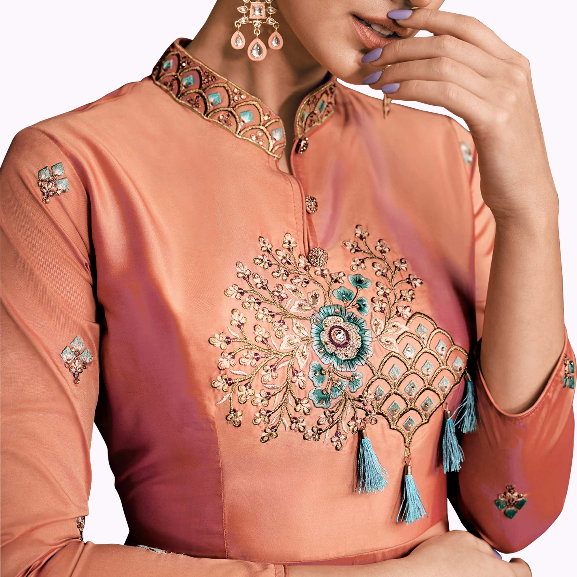 Glowing Peach Colored Partywear Embroidered Silk Abaya Style Anarkali Suit