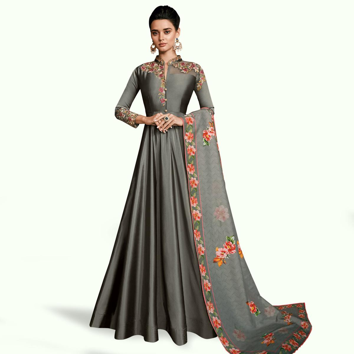 Exceptional Gray Colored Partywear Embroidered Silk Abaya Style Anarkali Suit