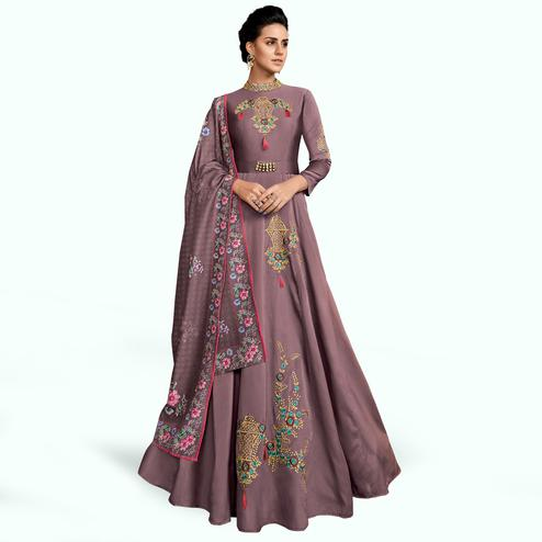 Gleaming Pastel Purple Colored Partywear Embroidered Silk Abaya Style Anarkali Suit