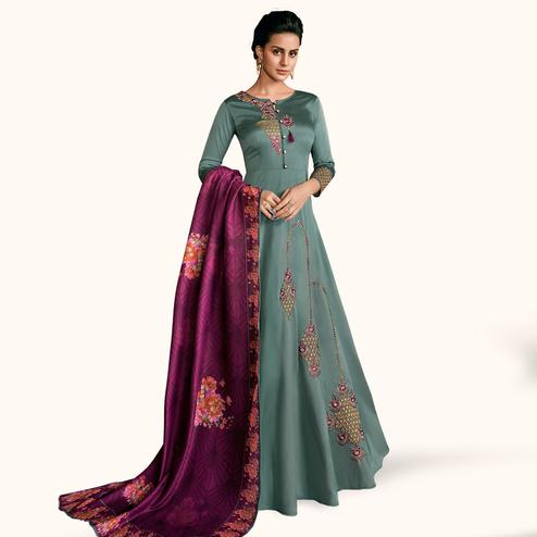 Magnetic Teal Gray Colored Partywear Embroidered Silk Abaya Style Anarkali Suit