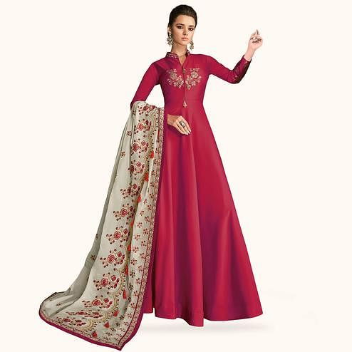 Ideal Pink Colored Partywear Embroidered Silk Gown