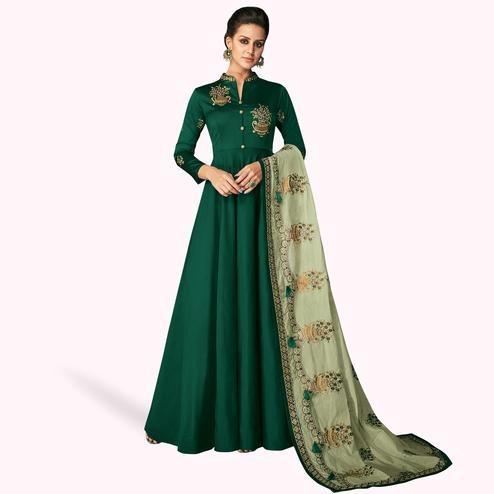 Imposing Dark Green Colored Partywear Embroidered Silk Gown