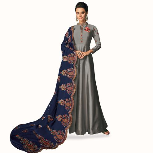 Lovely Gray Colored Partywear Embroidered Silk Gown