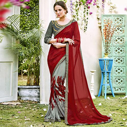 Red-Grey Designer Partywear Georgette Saree