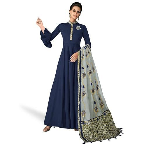Majesty Navy Blue Colored Partywear Embroidered Silk Gown