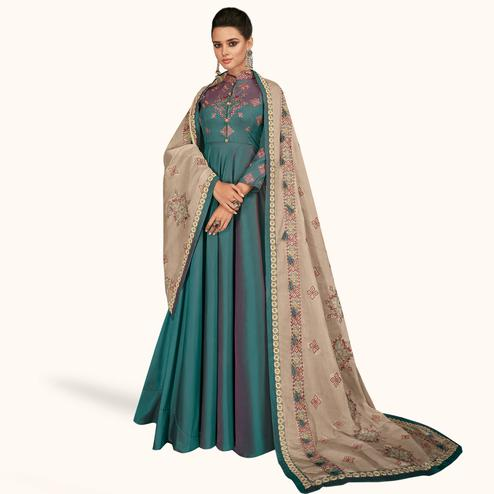 Elegant Turquoise Green Colored Partywear Embroidered Silk Gown