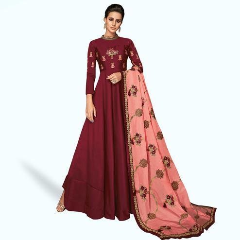 Radiant Maroon Colored Partywear Embroidered Silk Gown