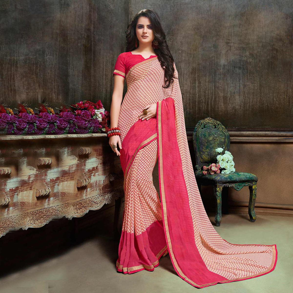 Ravishing Pink-Cream Georgette Printed Saree