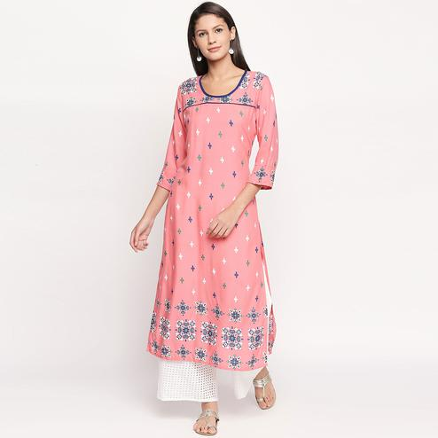Fantastic Pink Colored Casual Printed Rayon Kurti