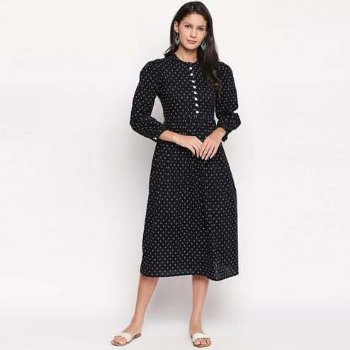 Pleasance Black Colored Casual Printed Cotton Kurti