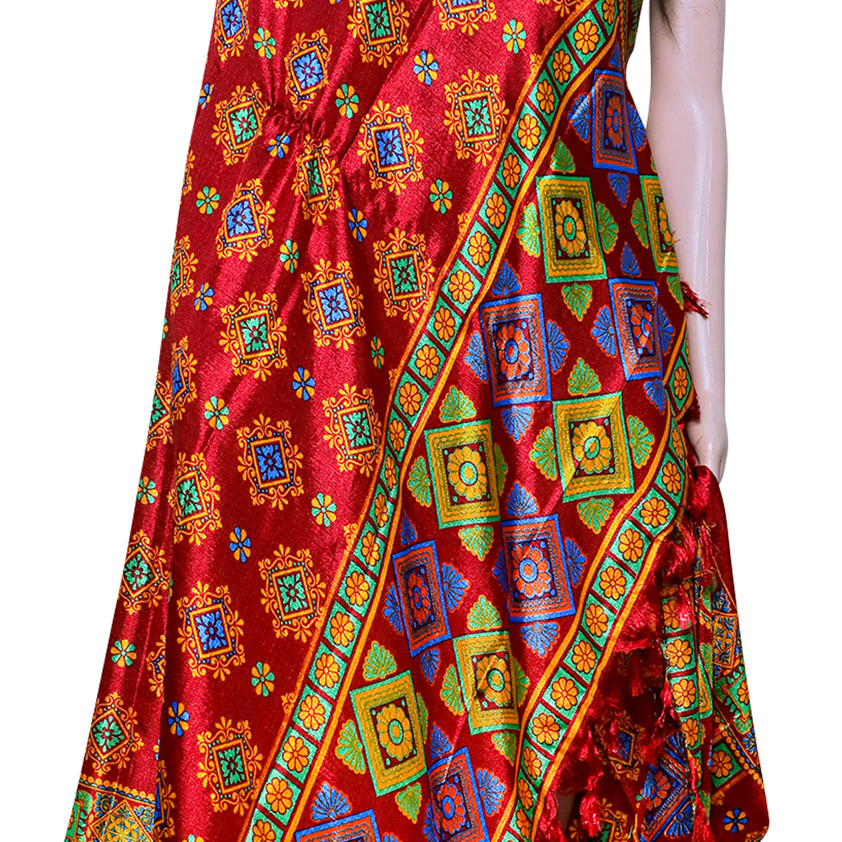 Energetic Red Colored Festive Wear Printed Khadi Silk Dupatta