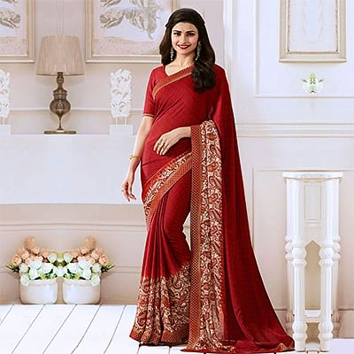 Red Casual Wear Georgette Saree