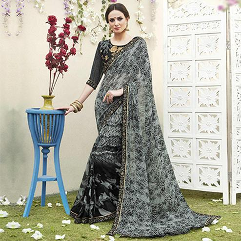 Black-Grey Designer Partywear Georgette Saree