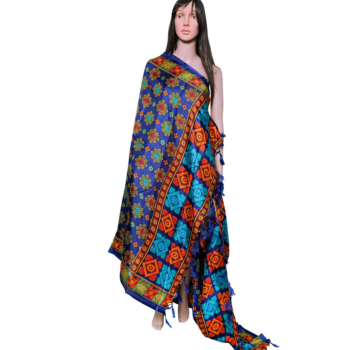 Glowing Blue Colored Festive Wear Printed Khadi Silk Dupatta