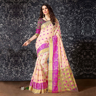 Cream- Pink Floral Embroidered Work Cotton Silk Saree