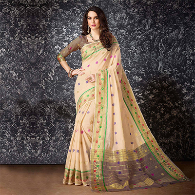 Beige Festive Wear Cotton Silk Saree