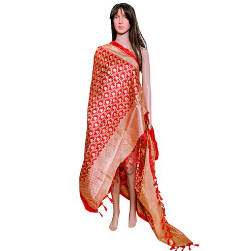 Graceful Red Colored Festive Wear Printed Khadi Silk Dupatta