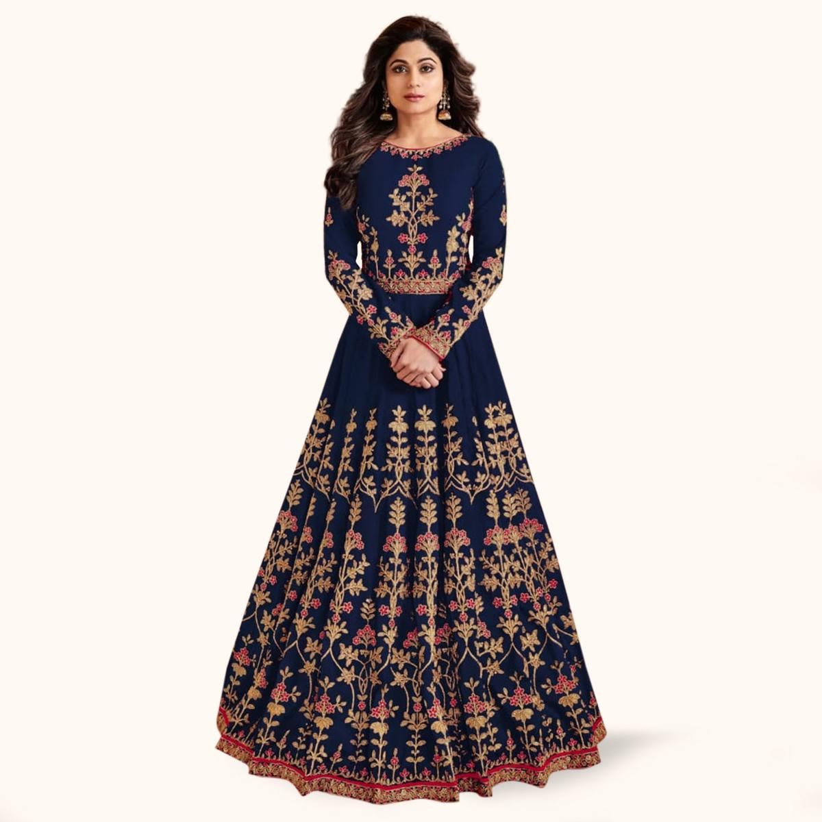 Gorgeous Navy Blue Colored Partywear Embroidered Mulberry Silk Anarkali Suit