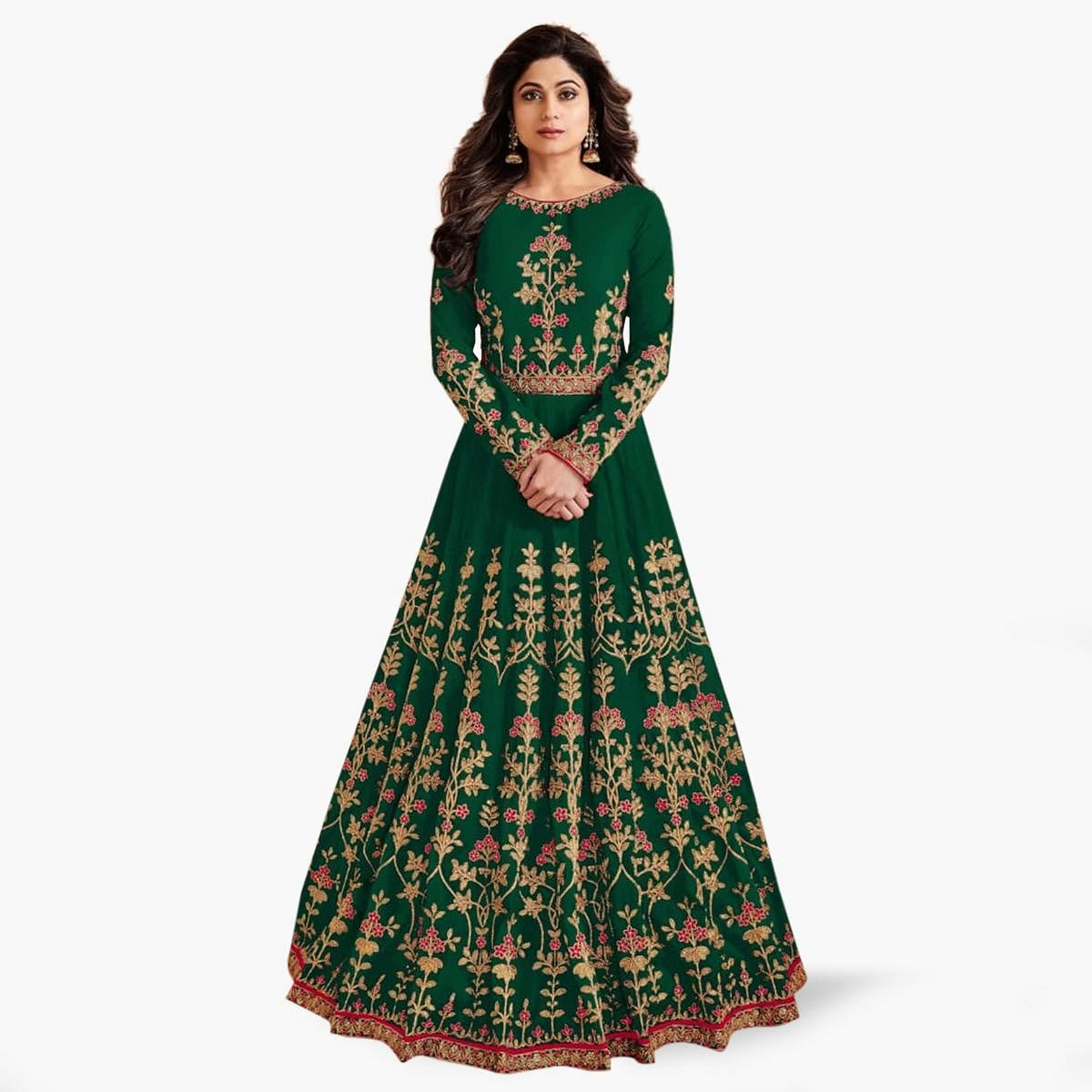 Blissful Green Colored Partywear Embroidered Mulberry Silk Anarkali Suit