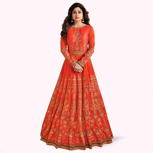 Mesmeric Orange Colored Partywear Embroidered Mulberry Silk Anarkali Suit